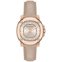 Buy Burberry BBY1503 Women's The Britain Leather Strap Watch, Rose Gold/Champagne Online at johnlewis.com