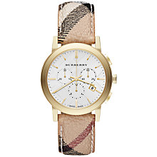 Buy Burberry BU9752 Men's The City Two Tone Chronograph Haymarket Strap Watch, Silver / Gold Online at johnlewis.com