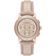 Buy Burberry BU9704 Women's The City Chronograph Leather Strap Watch, Nude / Rose Gold Online at johnlewis.com