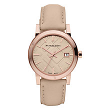 Buy Burberry BU9109 Women's The City Leather Strap Watch, Cream/Rose Gold Online at johnlewis.com