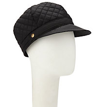 Buy John Lewis Quilted Baker Boy Cap, Black Online at johnlewis.com