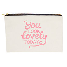 Buy Alphabet Bags Large Canvas Pouch Bag, You Look Lovely Online at johnlewis.com