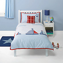 Buy little home at John Lewis Boats & The Blue Sea Single Duvet Cover and Pillowcase Set Online at johnlewis.com