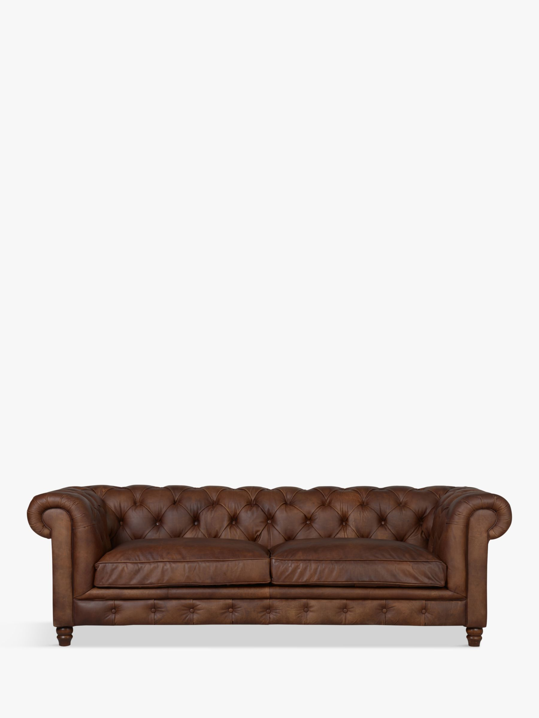 Halo Halo Earle Aniline Leather Chesterfield Grand Sofa, Antique Whisky