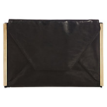 Buy Oasis Cara Leather Envelope Clutch Bag, Black Online at johnlewis.com