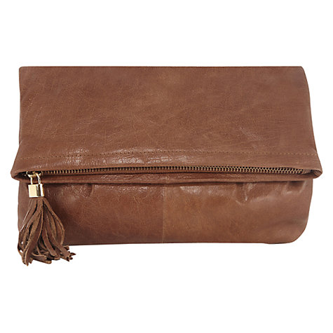 Buy Oasis Leather Clutch Bag, Tan Online at johnlewis.com