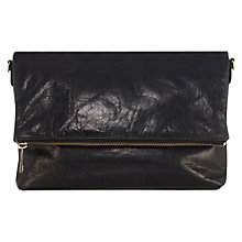 Buy Oasis Celeste Leather Fold Clutch Bag, Black Online at johnlewis.com