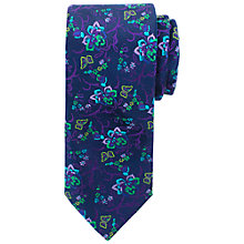 Buy John Lewis Ditsy Floral Satin Tie, Navy Online at johnlewis.com