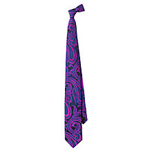 Buy Duchamp Alyseka Paisley Print Silk Tie, Dark Blue Online at johnlewis.com