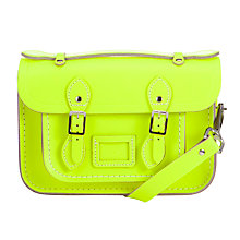 "Buy The Cambridge Satchel Company Mini 8.5"" Satchel Bag, Fluro Yellow Online at johnlewis.com"