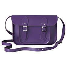 "Buy The Cambridge Satchel Company The Classic 11"" Leather Satchel Bag, Purple Online at johnlewis.com"