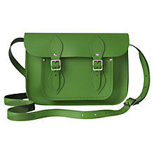"Buy The Cambridge Satchel Company The Classic 11"" Leather Satchel Bag, Green Online at johnlewis.com"