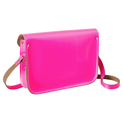 "Buy The Cambridge Satchel Company The Classic 11"" Leather Satchel Bag, Fluorescent Pink Online at johnlewis.com"