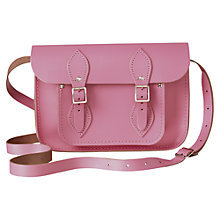 "Buy The Cambridge Satchel Company The Classic 11"" Leather Satchel Bag, Pink Online at johnlewis.com"