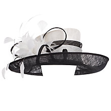 Buy John Lewis Pia Medium East/West Occasion Hat, Black / White Online at johnlewis.com