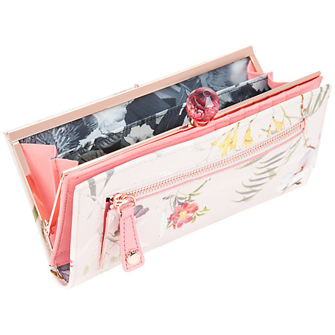 Buy Ted Baker Botanical Print Leather Purse, Pale Pink Online at johnlewis.com