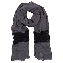 Buy Mint Velvet Lace Scarf, Steel Online at johnlewis.com
