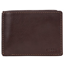 Buy Fossil Mercer Traveller Leather Wallet, Brown Online at johnlewis.com