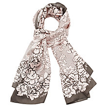 Buy Viyella Rose Square Silk Scarf, Truffle Online at johnlewis.com