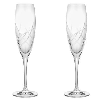 John Lewis Stellar Cut Crystal Flutes, Set of 2