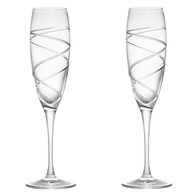 John Lewis Aurora Cut Crystal Flutes, Set of 2