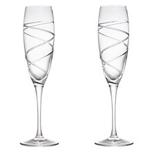Buy John Lewis Aurora Cut Crystal Flutes, Set of 2 Online at johnlewis.com