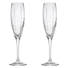 Buy John Lewis Latitude Cut Crystal Flutes, Set of 2 Online at johnlewis.com
