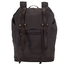 Buy JOHN LEWIS & Co. Sao Paulo Canvas Leather Trim Backpack, Charcoal Online at johnlewis.com