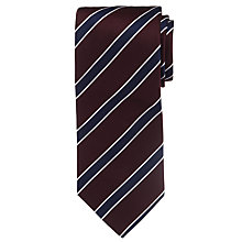 Buy Hackett London Three Colour Stripe Tie, Burgundy Online at johnlewis.com