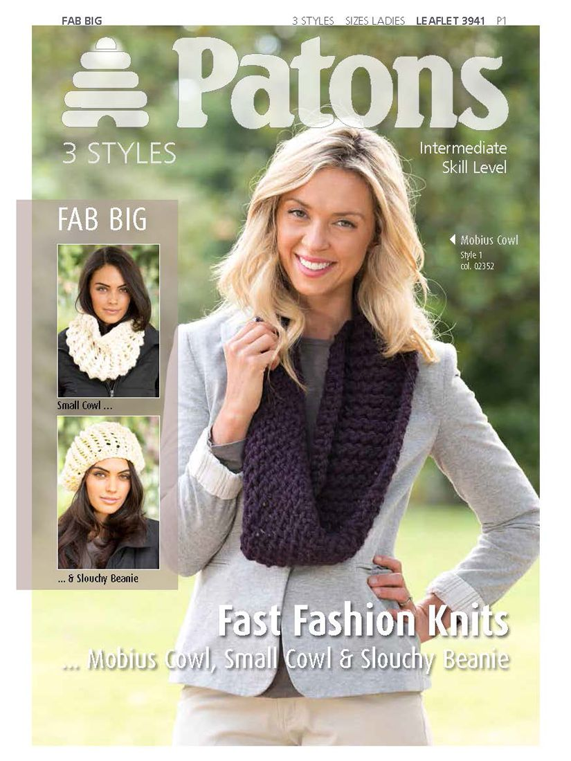 Patons Patons Cowls and Slouchy Beanie Knitting Pattern, 03939