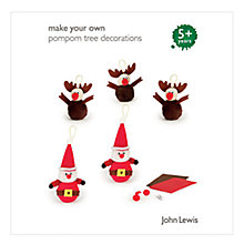 Buy John Lewis Make Your Own Pompom Reindeer/Santa Online at johnlewis.com