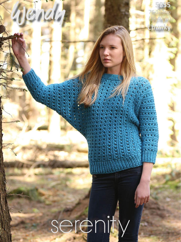 Batwing Knitting Pattern : Buy Wendy Chunky Batwing Sweater Knitting Pattern, 5834 John Lewis