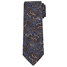 Buy John Lewis Paisley Print Wool Tie, Blue/Brown Online at johnlewis.com