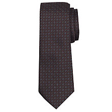 Buy John Lewis Mini Flower Print Silk Tie, Grey Online at johnlewis.com
