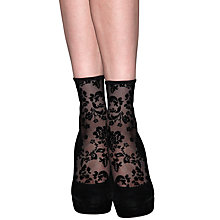 Buy Jonathan Aston Delight Flock Anklet Tights, Black Online at johnlewis.com