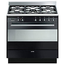 Buy Smeg SUK91MBL8 Dual Fuel Range Cooker, Black Online at johnlewis.com