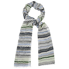 Buy Phase Eight Zig Zag Print Scarf, Blue Online at johnlewis.com