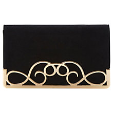 Buy Dune Ewirl Metal Detail Suede Clutch Bag, Black Online at johnlewis.com
