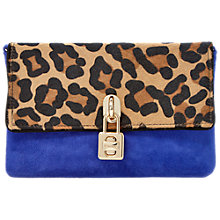 Buy Dune Bluebell Suede Clutch Bag, Cobalt Blue / Leopard Online at johnlewis.com