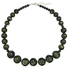 Buy John Lewis Diego Round Bead Necklace, Forest Green Online at johnlewis.com