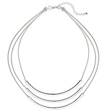 Buy John Lewis Layered Scoop Rhodium Plated Necklace, Silver Online at johnlewis.com