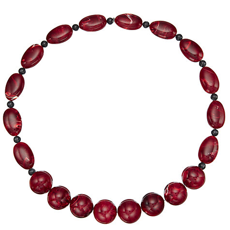 Buy John Lewis Tiga Long Bead Necklace, Wine Red Online at johnlewis.com