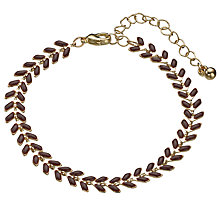 Buy John Lewis Fine Leaf Bracelet, Gold/Purple Online at johnlewis.com