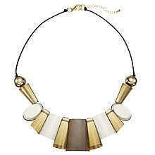 Buy John Lewis Cord Geometric Shapes Necklace, Cream/Brown/Gold Online at johnlewis.com