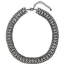 Buy John Lewis Large Leaf Drop Necklace, Gunmetal / Clear Online at johnlewis.com