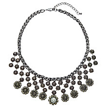 Buy John Lewis Floral Stone Fan Necklace, Gunmetal / Blue Online at johnlewis.com