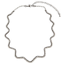 Buy John Lewis Fine Zig Zag Diamante Necklace, Gunmetal / Clear Online at johnlewis.com