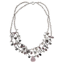 Buy John Lewis Semi Precious Layered Necklace, Milky Grey Online at johnlewis.com