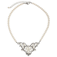 Buy John Lewis Pearl Cubic Zirconia Triangle Necklace, Pearl Online at johnlewis.com