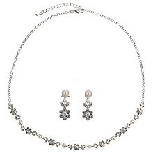 Buy John Lewis Faux Pearl and Diamante Fine Flower Set, Silver Online at johnlewis.com